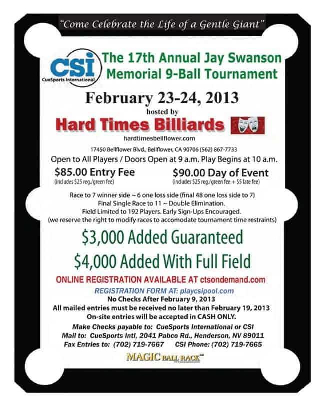 17th Annual Jay Swanson Memorial 9 Ball Tournament