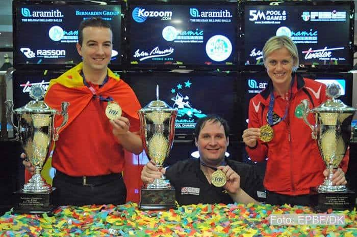 The 8-Ball Champions: David Alcaide, Fred Dinsmore  and Line Kjoersvik (l.t.r.)