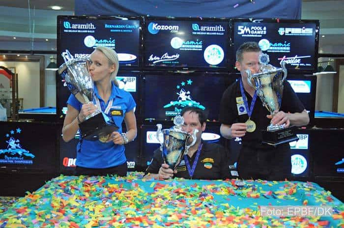 The 8-Ball Champions Jasmin  Ouschan, Fred Dinsmore and  Niels Feijen