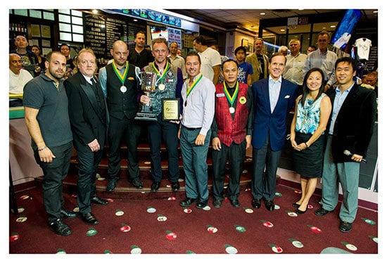 Steinway owner Manny Stamatakis, DP Tourny Director John Leyman, Appleton, Hohmann, John Schmidt, Francisco Bustamante, Dr.Michael Fedak, Cindy Lee, and Charlie Williams