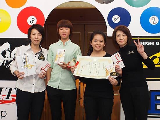 Left to Right – Chihiro Kawahara (JPN), Runner-up: Kuo Szu-Ting (TPE), Champion: Wu Zhi-Ting (TPE) & Yukiko Ohi (JPN)