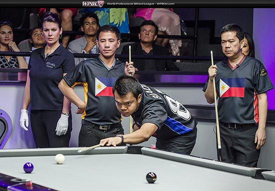 Philippine Team:  Dennis Orcullo, Carlo Biado, Warren Kiamco and Referee Michaela Tabb - Photo credit Mike Brown/WPBL