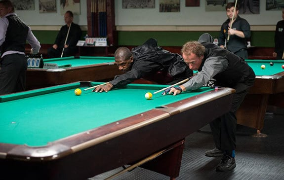 Qualifier Dennis Spears of NJ seen here in his round robin match with legendary Earl Strickland at the World Tournament. Spears won!