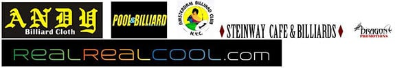 Andy Cloth, Pool & Billiard Magazine, Amsterdam Billiard Club, www.Realrealcool.com and host Steinway Billiards are the Official Sponsors of the event