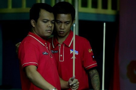 Biado, left, and Corteza suffered an early lost in 8 Ball doubles