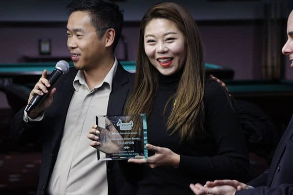 It was pretty much the Ga Young Kim show as she broke and total of 8 racks in the day in 8-Ball, 9-Ball, 10-Ball and made numerous banks, kicks, and complex carom and positional shots that showcased her all around skills and knowledge.