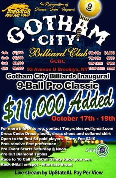 1st Annual Gotham City Billiards 9 Ball Pro Classic 2015