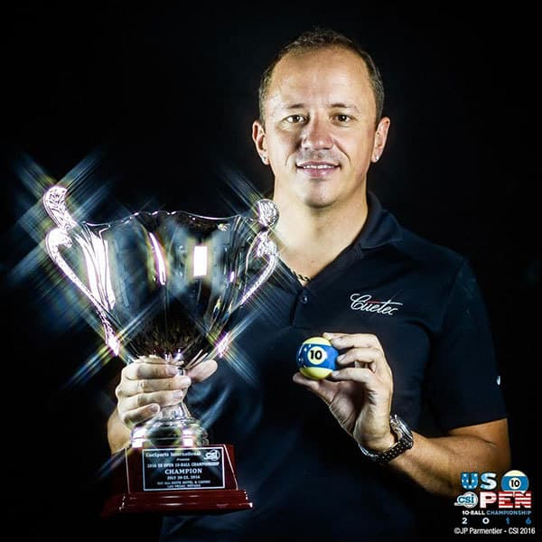 Shane Van Boening of South Dakota earned his second US Open 10-Ball Championship title Friday at the Rio All-Suite Hotel & Casino in Las Vegas. PHOTOS COURTESY OF JP PARMENTIER & CUESPORTS INTERNATIONAL.