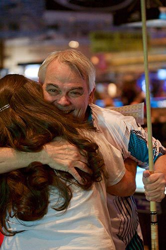 Terry Best reacts after winning the 9-Ball Singles Division at the USAPL National Championships, which concluded Sunday at the Rio All-Suite Hotel & Casino in Las Vegas.