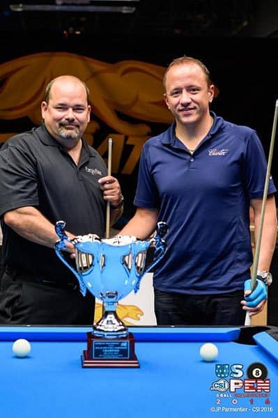 Shane Van Boening of South Dakota won both the 2016 US Open 10-Ball Championship and the 2016 US Open 8-Ball Championship, which were held over the past week at the Rio All-Suite Hotel & Casino in Las Vegas. Van Boening beat Rory Hendrickson, of North Dakota, in the finals of the US Open 8-Ball Championship Monday. PHOTO COURTESY OF CUESPORTS INTERNATIONAL