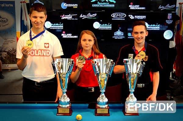 Wiktor Zielinski (POL), Kristina Tkach (RUS) and Patrick Hofmann (GER) - Photo: EPBF