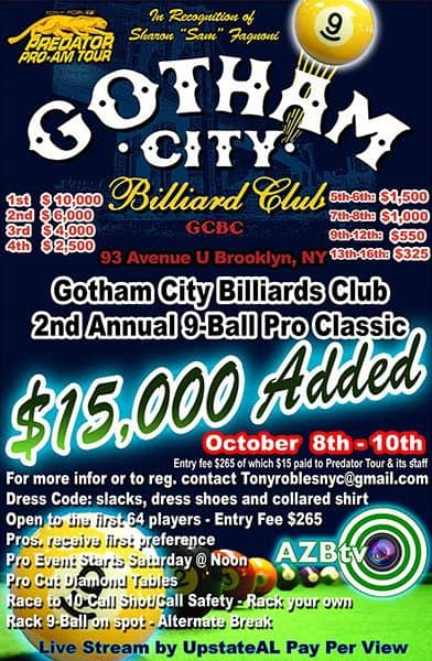 Gotham City Billiards 9 Ball Pro Classic 2016