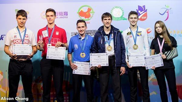 The European Medallists: Zielinski, Maciol, Hofmann, Dudanets, Pehlivanovic and Khodajeva (left to right) - Photo: Alison Chang