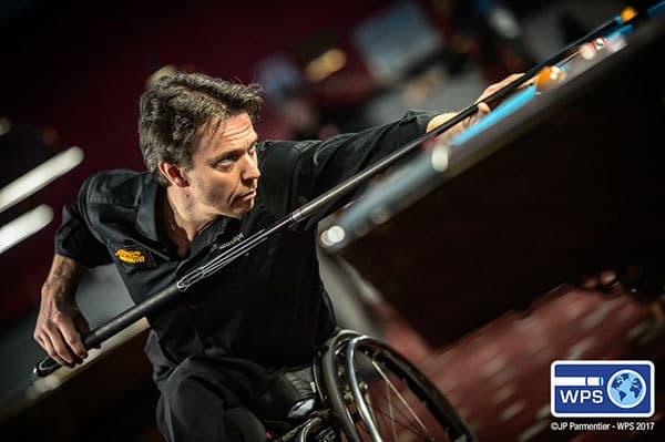 4-time World 9-ball Wheelchair Champion Henrik Larsson of Sweden advanced to the final 64 at the Molinair Players Championship in New York.
